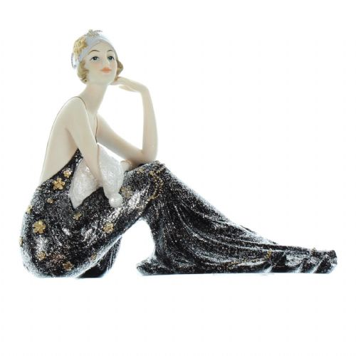 Art Deco Black Dress Lady Figurine from Broadway Belles by Juliana 'Lilian'